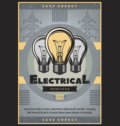 Save energy retro banner of electrical service vector