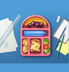 School lunch box vector