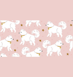 Seamless pattern with cute samoyed dog star vector