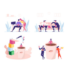Set business people communicate on coffee break vector