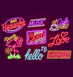 Set of fashion neon sign night bright signboard vector