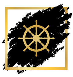 ship wheel sign golden icon at black spot vector image
