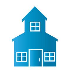 Silhouette front view house with two floors icon vector