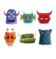 six monster heads vector image
