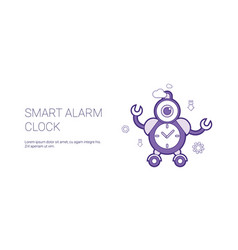 smart alarm clock template web banner with copy vector image