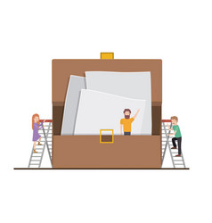 Teamwork mini people doing portfolio vector