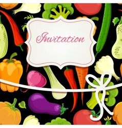 vegetable cartoon invitation card vector image