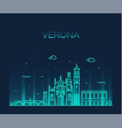 verona skyline italy linear style city vector image