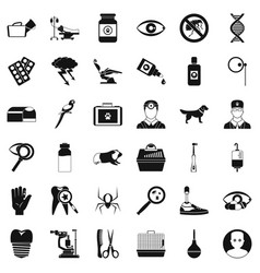 Vet icons set simple style vector