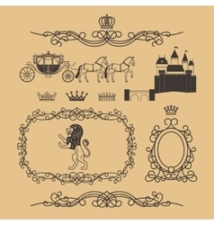 Vintage royal and princess decor elements vector