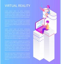 virtual reality cartoon advertising poster sample vector image