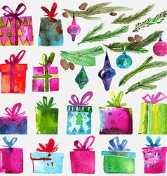 Watercolor Christmas set with gift boxes holly vector image vector image
