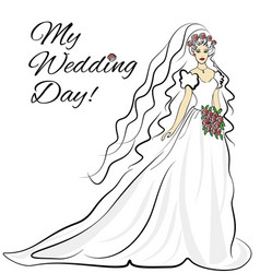 wedding bride inavitation card vector image