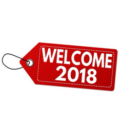 welcome 2018 label or price tag vector image