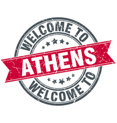 Welcome to athens red round vintage stamp vector