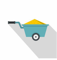 Wheelbarrow full of sand icon flat style vector
