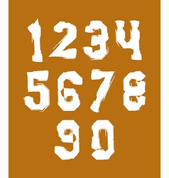 White hand painted numerals collection of acrylic vector