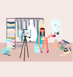 Woman blogger shooting video content vector