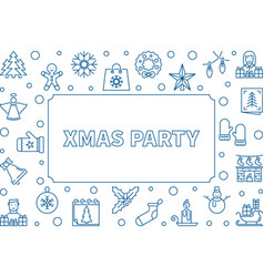 xmas party frame made with blue line icons vector image