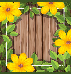 Yellow flower on wooden frame vector