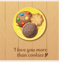 yellow plate with three round cookies top view vector image