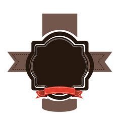brown emblem with red ribbon and symbols icon vector image