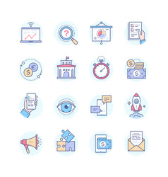 business concepts - set of line design style icons vector image