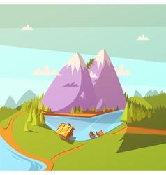Hiking At A Lake Background vector image