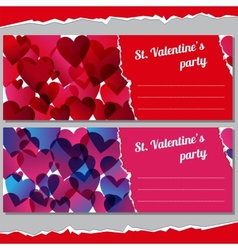 Invitations for Valentines days party vector image vector image