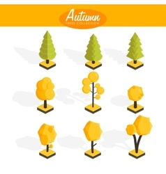 Isometric Autumn trees set vector image vector image