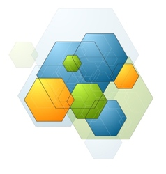 Colorful bright geometry hexagons background vector image
