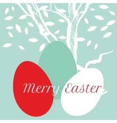 Easter eggs on background with tree vector image