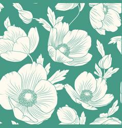 hellebore poppy flowers seamless pattern teal blue vector image vector image