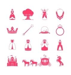 Princess fairytale icon set vector image