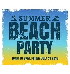 Summer beach party poster with retro blue and vector image vector image