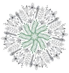 Hand drawn floral Abstract circle vector image