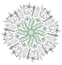 Hand drawn floral Abstract circle vector image vector image