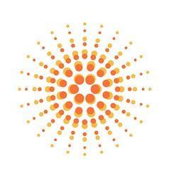 Sun burst round orange particles sign vector image