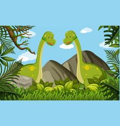 Two brachiosaurus in the field vector