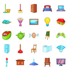 comfortable house icons set cartoon style vector image