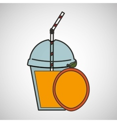 delicious juice fruit and cup cover straw icon vector image