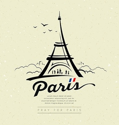 Eiffel tower sketch design on cream recycle vector image vector image