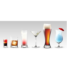 full glasses set vector image vector image