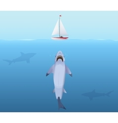 Hungry Shark with big jaw Attack yacht sheep from vector image