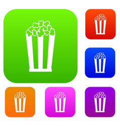 popcorn in striped bucket set collection vector image