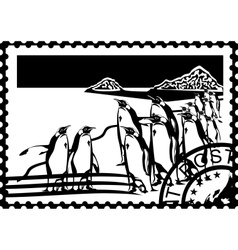 Postage stamp with the penguins vector image