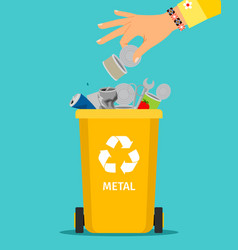woman hand throws metal garbage vector image vector image