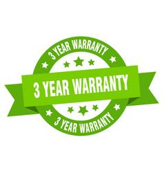 3 year warranty ribbon 3 year warranty round vector image