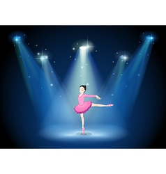 A lady in pink dancing ballet with spotlights vector