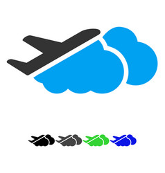 airplane over clouds flat icon vector image